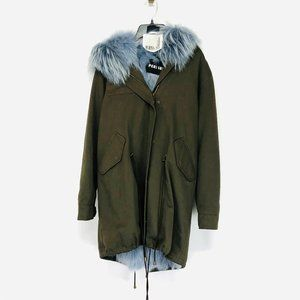 PERI LUXE Green Parka With Dyed Fox Fur Lining
